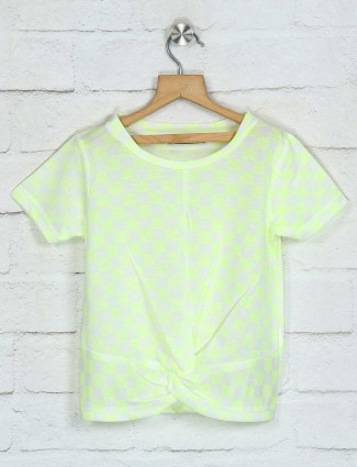 Deal half sleeves green cotton top