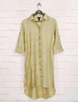 Deal light green stripe cotto dress