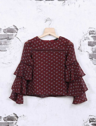 Deal maroon cotton casual top