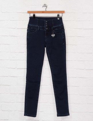 Deal navy blue solid slim fit high waist denim jeans