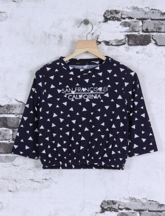 Deal navy printed girls top