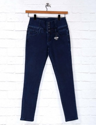 Deal navy solid denim casual wear jeans