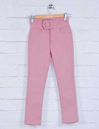 Deal pink solid cotton girls jeans