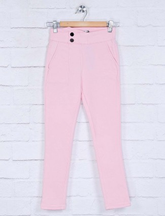 Deal pink solid cotton jeggings