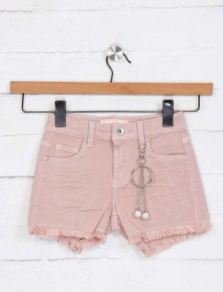 Deal pink solid cute baby shorts