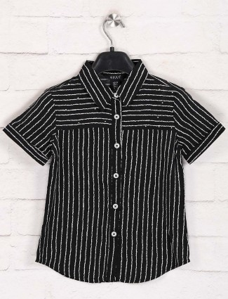 Deal presented black cotton stripe top