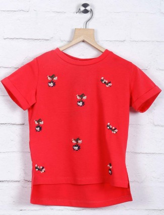 Deal red color printed casual top