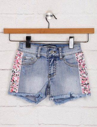 Deal sequins work blue denim shorts
