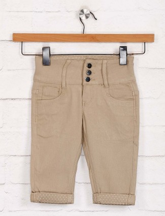 Deal solid beige denim capri