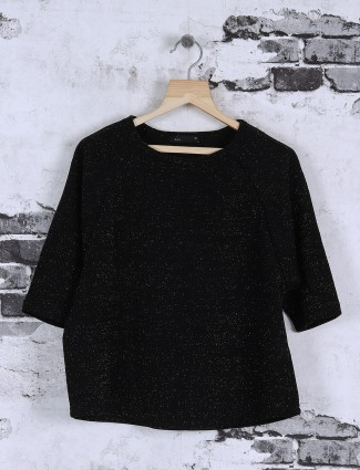Deal solid black color top