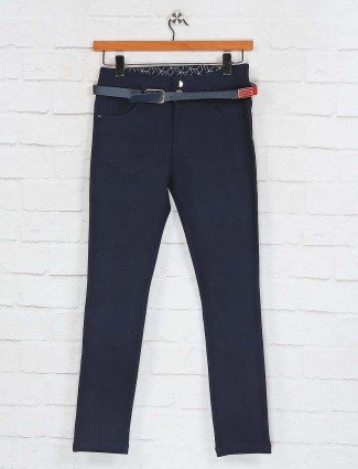 Deal solid navy cotton pant