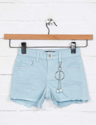 Deal solid sky blue casual shorts