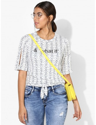 Deal white printed cotton top