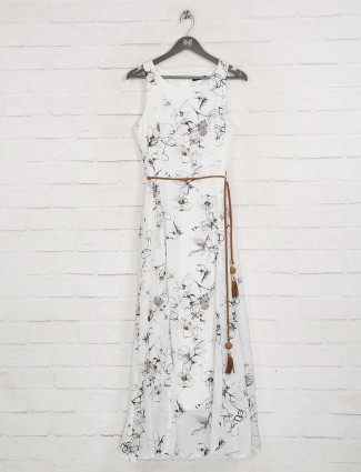 Deal white printed long dress