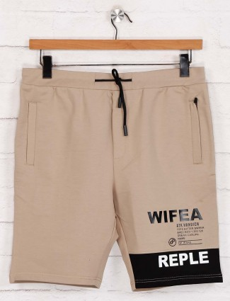 Deepee beige solid cotton summer shorts