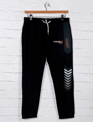 Deepee black solid comfortable track pant