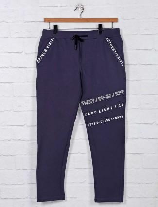 Deepee dark grey printed mens cotton track pant
