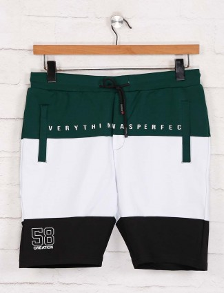 Deepee green and white solid slim fit cotton shorts