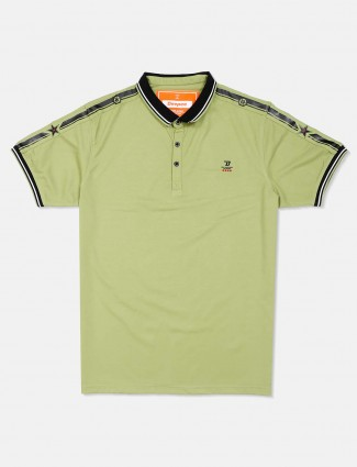Deepee light green casual solid t-shirt