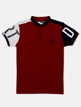 Deepee maroon solid casual wear t-shirt