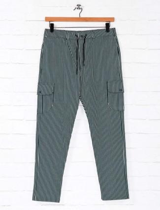 Deepee night green stripe comfortable track pant