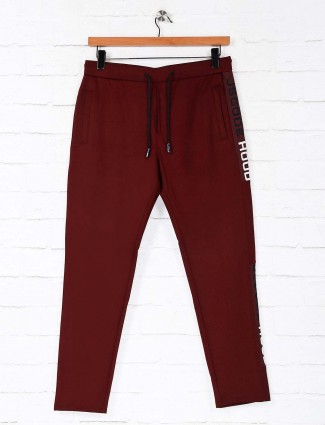 Deepee solid maroon mens track pant