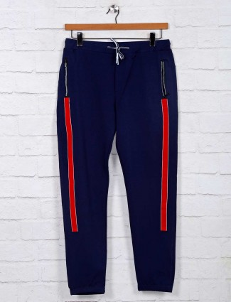 Deepee solid navy cotton track pant