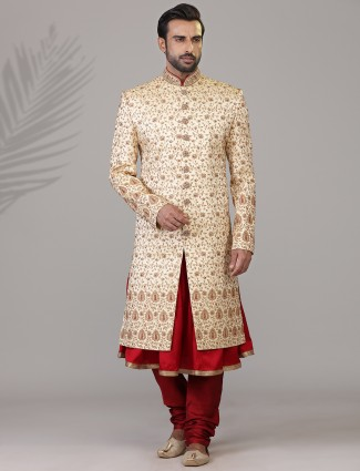 Delightfull beige silk double layer sherwani