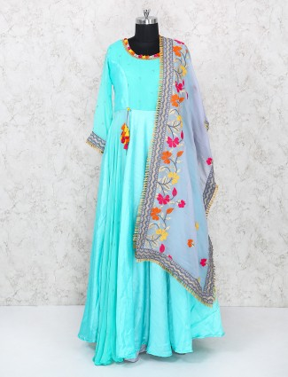 Designer anarkali suit in aqua color