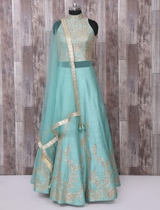 Designer aqua raw silk anarkali suit