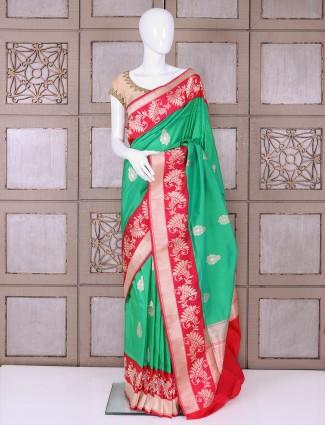 Designer banarasi silk green saree