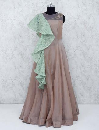 Designer beige color gown