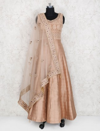 Designer beige color wedding anarkali suit