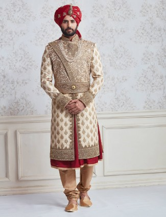 Designer beige red silk wedding wear sherwani