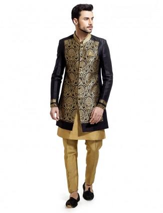Designer black and golden silk indo western