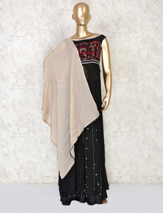 Designer black colored long kameez with palazzo