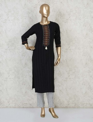 Designer black cotton straight cut kurta for festivals