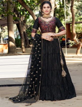 Designer black party wear georgette lehenga choli