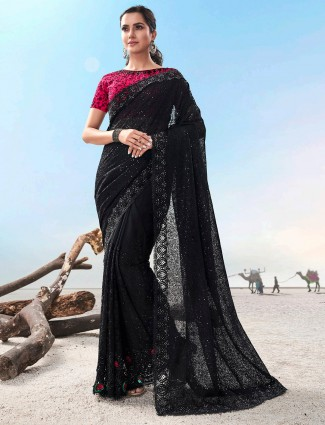 Designer black saree for party in net