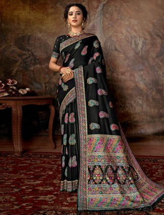 Designer black saree in banarasi silk