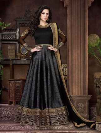 Designer black silk party wear semi stitched anarkali salwar suit