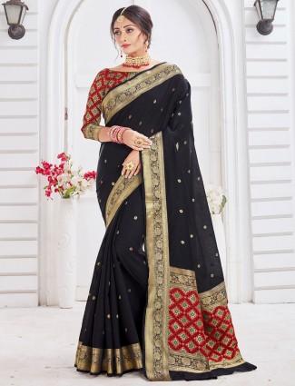 Designer black soft cotton saree for festive
