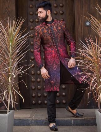 Designer black terry rayon indo western