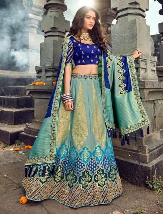 Designer blue banarasi lehenga choli for wedding in silk