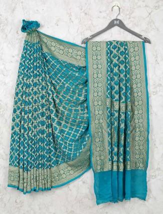 Designer Blue Bandhej Wedding Wear Saree