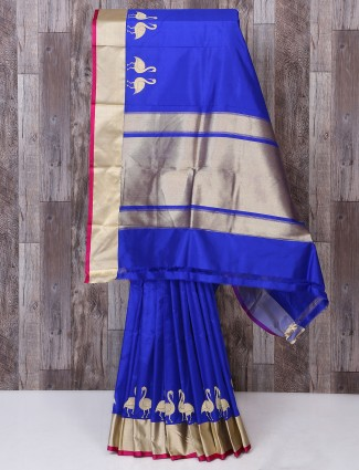 Designer blue color silk saree