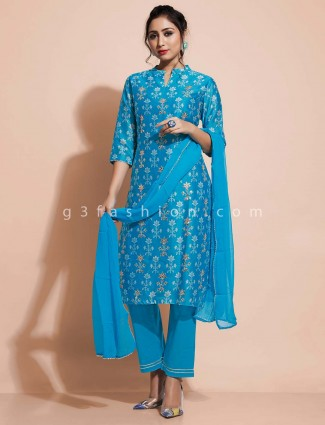 Designer blue cotton salwar suit for festivals