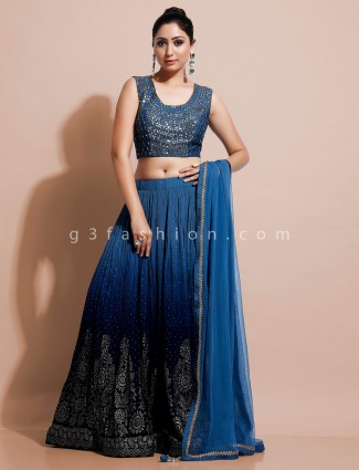 Designer blue georgette lehenga choli for wedding