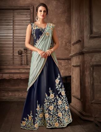 Designer blue lehenga cum saree in lycra and satin