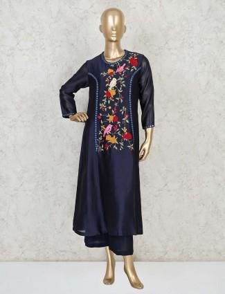 Designer blue palazzo style salwar suit in cotton silk